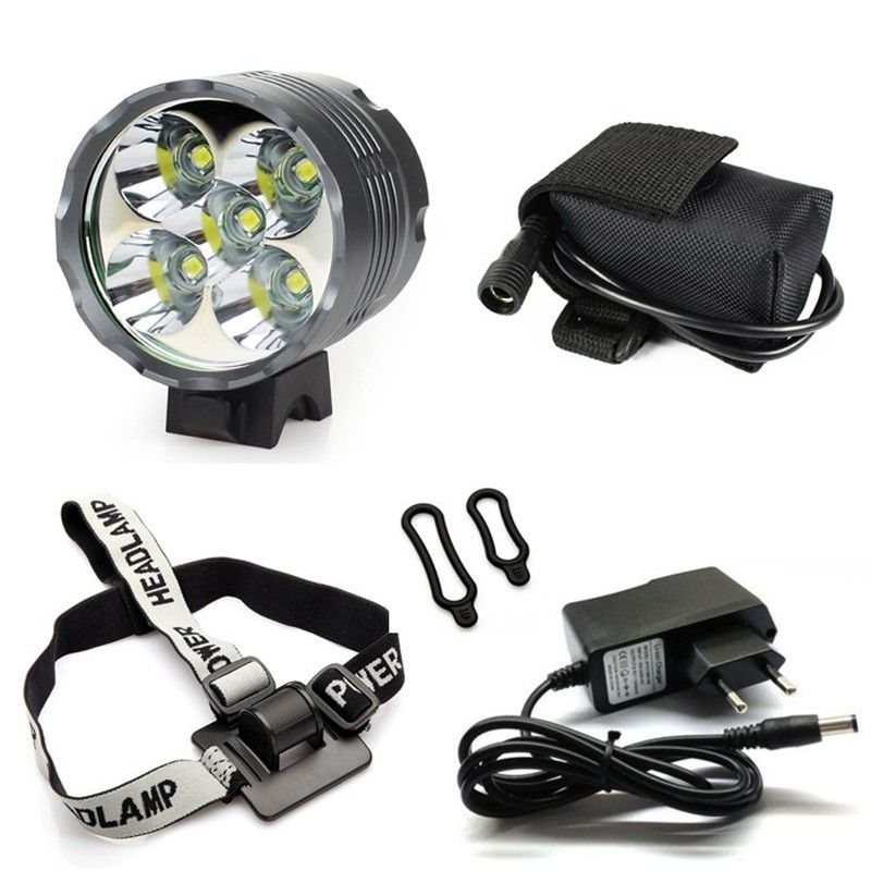 Lantern XM-L 5x T6 Bicycle Light Headlight 7000 Lumen LED Bike Light Lamp Headlamp + 8.4V Charger + 9600mAh Battery Pack