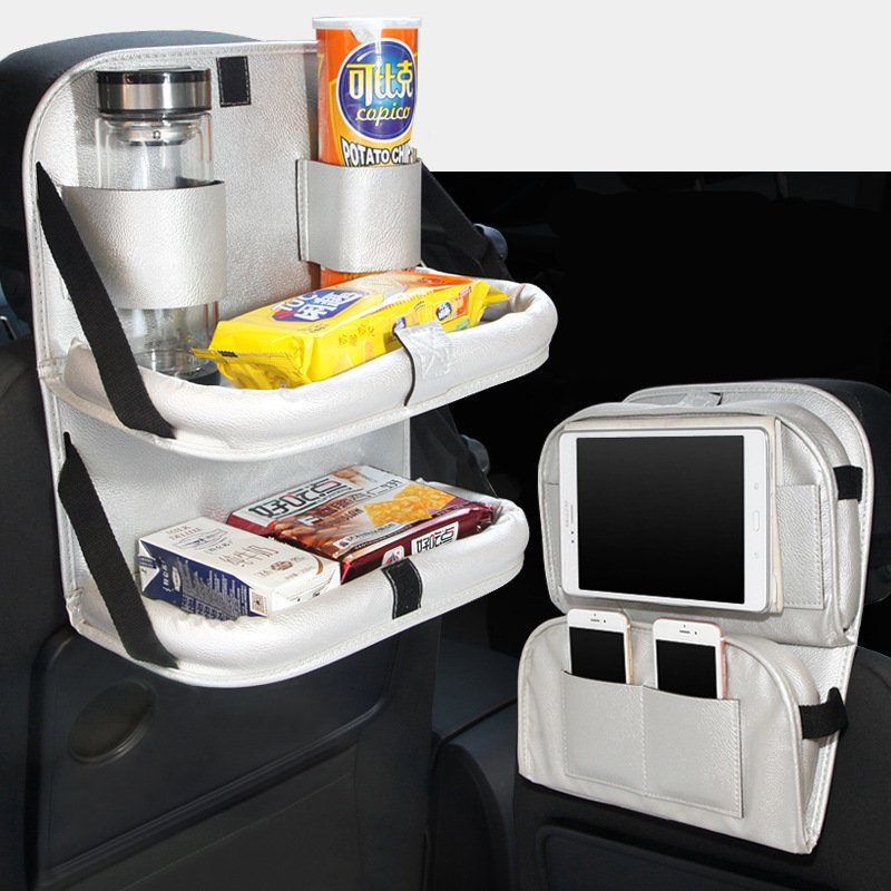 Car Front Seat Back Double Food Tray  Folding Table Drink Cup Tray Holder with Multi-use Portable Storage Bags Auto Organizador