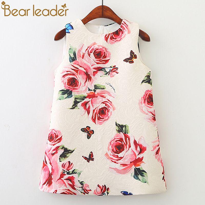 Bear Leader Girl Dress 2018 New Spring Kids Clothes Children Clothing Brand Rose Flowers Print Sleeveless Baby Girl Dress Party