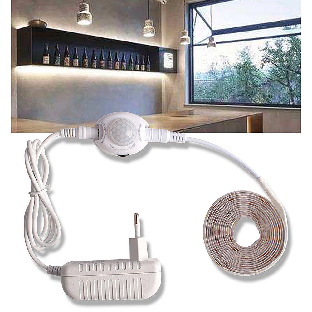 LED sous armoire lumières avec capteur de mouvement placard bande de lumières LED 12V étanche armoire armoire lit lampe 220 EU alimentation