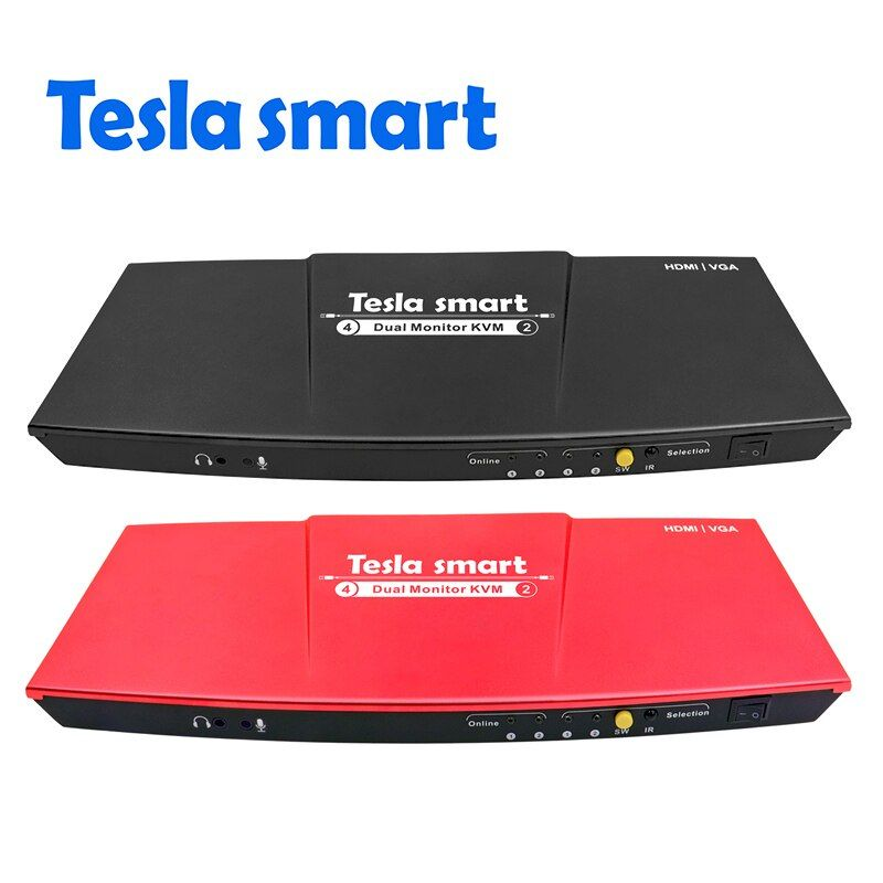 Tesla smart 2 Port Ausgang HDMI + VGA 4x2 HDMI Dual Monitor Kvm-switch Unterstützung USB 2.0 Ports Tastatur und maus port etc