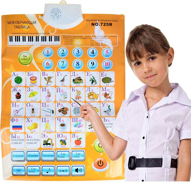 Enfants russe son mur graphique langue ABC Alphabet numéro Flip graphique, apprentissage précoce et éducation Machines (3 piles requises)