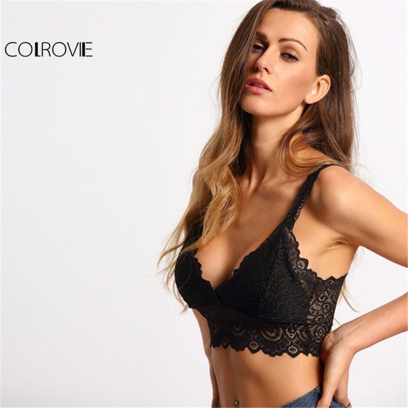 COLROVIE 2018 Sexy Scallop Wide Strap Lace Bralette Black Plain Lingerie Underwear Women Solid Free Size Bralette