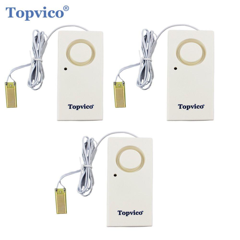 Topvico 3pcs Water Leak <font><b>Detector</b></font> Sensor Leakage Alarm Detection 130dB Alert Wireless Home Security Alarm System