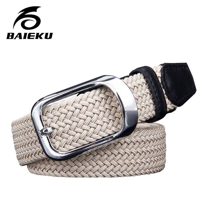 Baieku toile élastique tissé ceintures jeunes hommes aiguille han édition ceinture slack marée mâle mode ceinture boucle joker