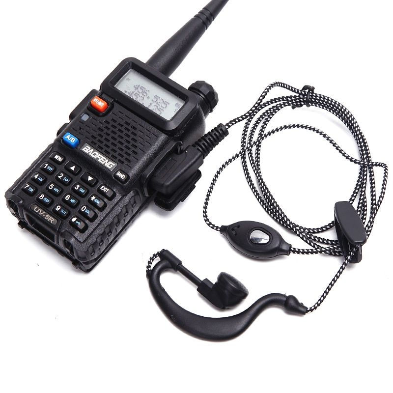 2pcs Earphone TK port squelch earpiece ptt mic headset for handheld walkie talkie baofeng UV-5R BF-888S Free shipping