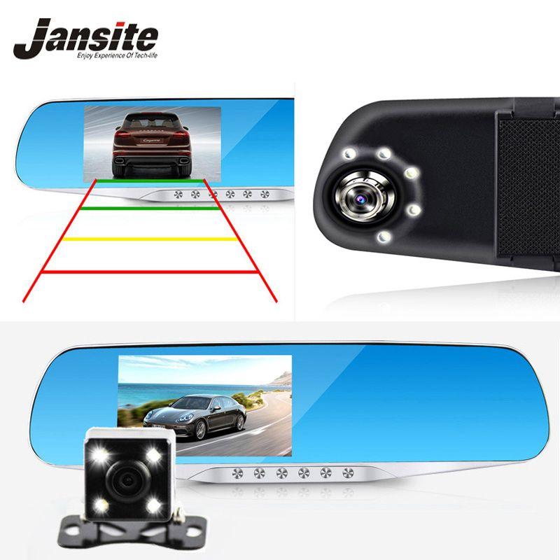 Jansite Vision nocturne voiture Dvr détecteur caméra bleu revue miroir DVR enregistreur vidéo numérique Auto caméscope Dash Cam FHD 1080 P