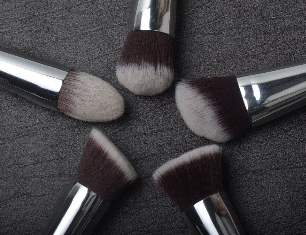 5 Pieces Brushes Kit Synthetic Hair Silver Tube Black Wood Handle <font><b>Make</b></font> Up Brushes Free Shipping