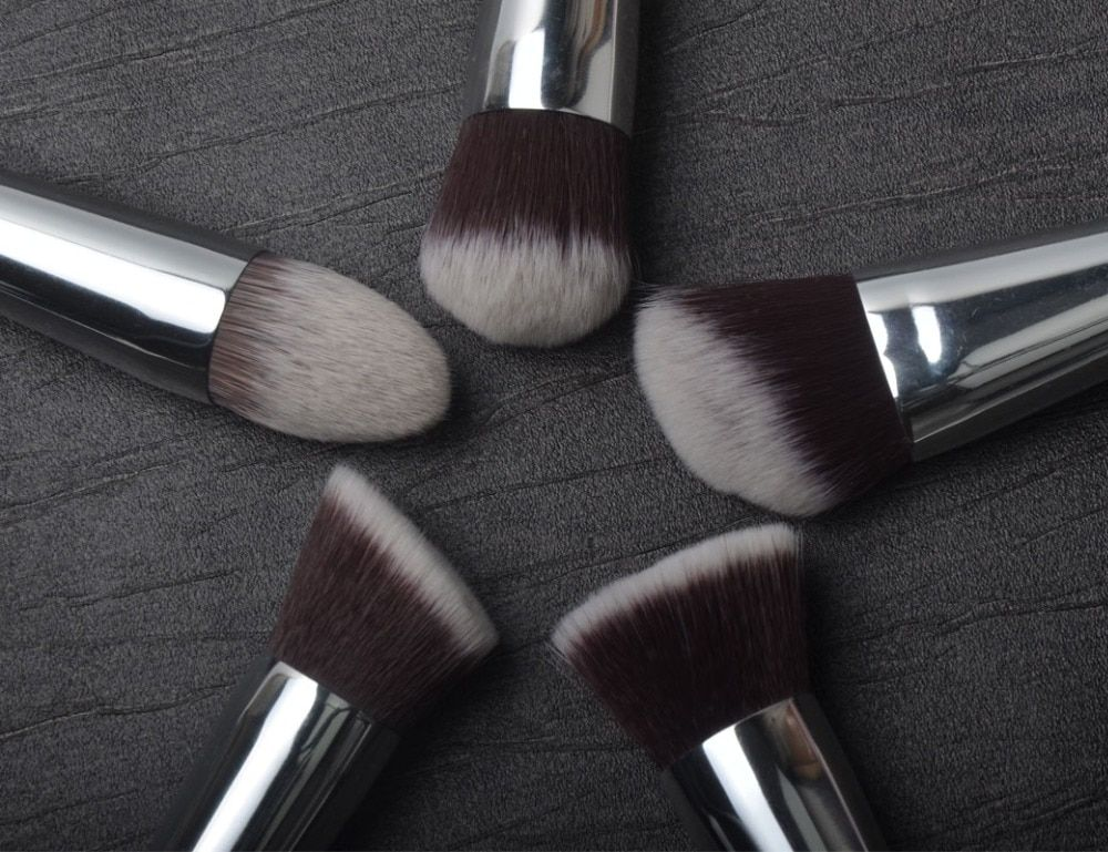 5 Pieces Brushes Kit Synthetic Hair Silver <font><b>Tube</b></font> Black Wood Handle Make Up Brushes Free Shipping