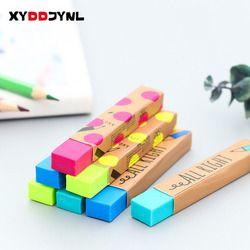1 шт. Kawaii канцелярские принадлежности прямоугольник 2B карандаш резиновый ластик для студентов призы, подарок сплошной цвет мягкий ластик дл...