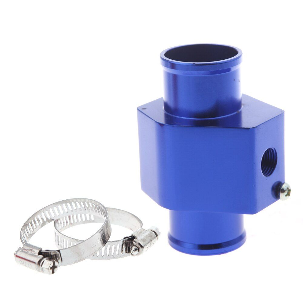 40mm Blue Auto Car Style Water Temperature Sensor Adapter Water Temp Guage Meter Aluminium with Clamps
