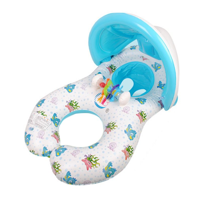 Swimming Pool Baby Swim Seat Float Inflatable Swimming Circle Mother And Baby Sunshade Swim Float Circle Ring With Sunshade