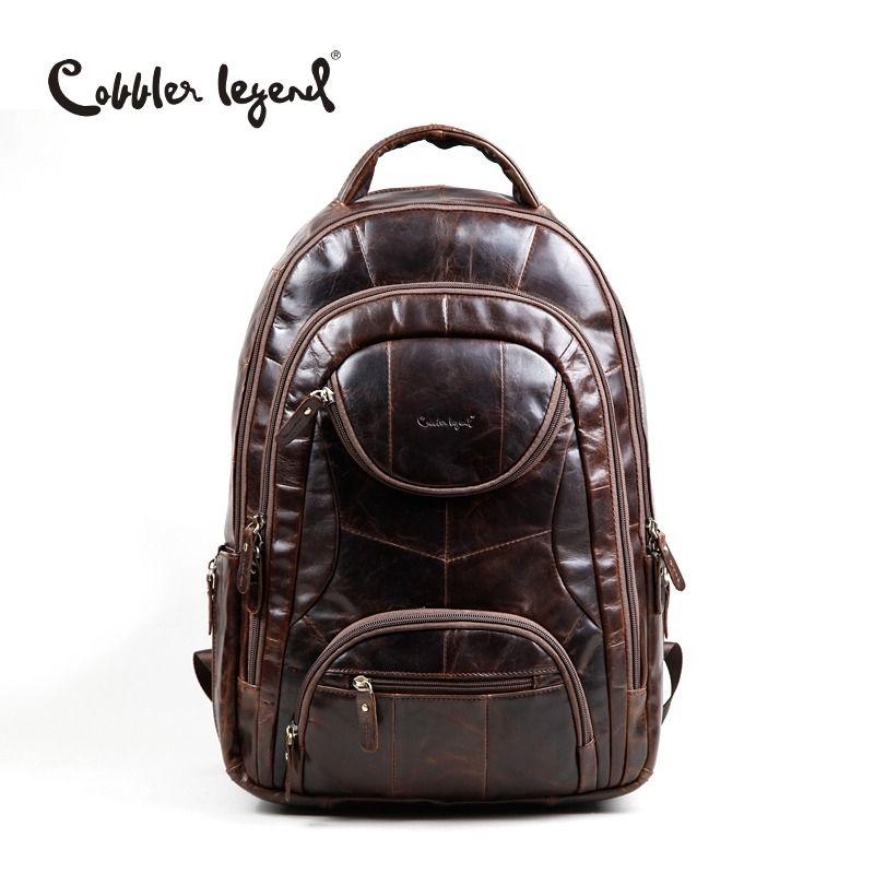 Cobbler Legend Famous Brands 2018 Men Large Capacity Cow Leather backpack Big Size Travel Bags backpacks student school bags ##