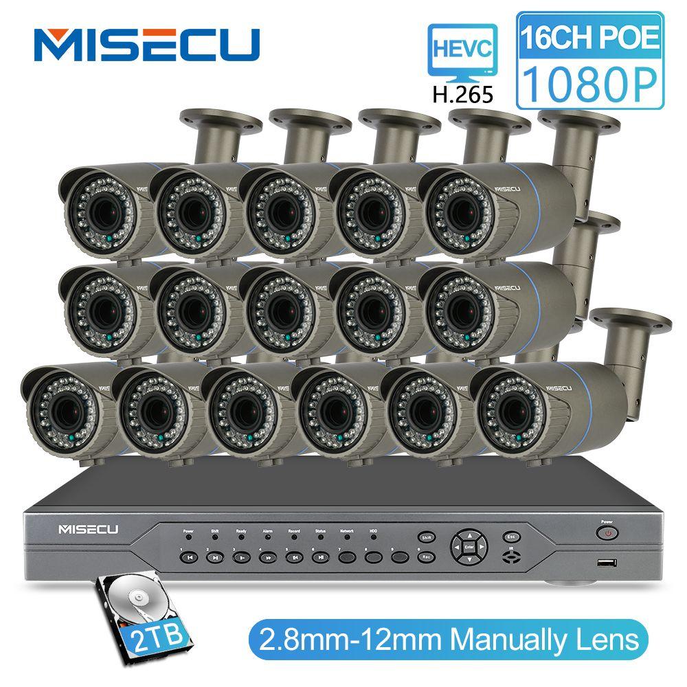 MISECU H.265 16CH POE KIT 1080P NVR Echt POE 48V 2MP 16 stücke POE 2,8-12mm zoom Kamera modul Nacht Wasserdichte P2P IP cctv system