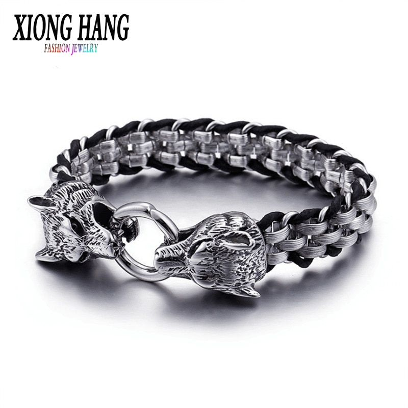 XiongHang Fashion Stainless Steel Bracelet Titanium Steel Woven Men's Hand Chain Men's Vintage Jewelry Masculine Ornaments Gift.