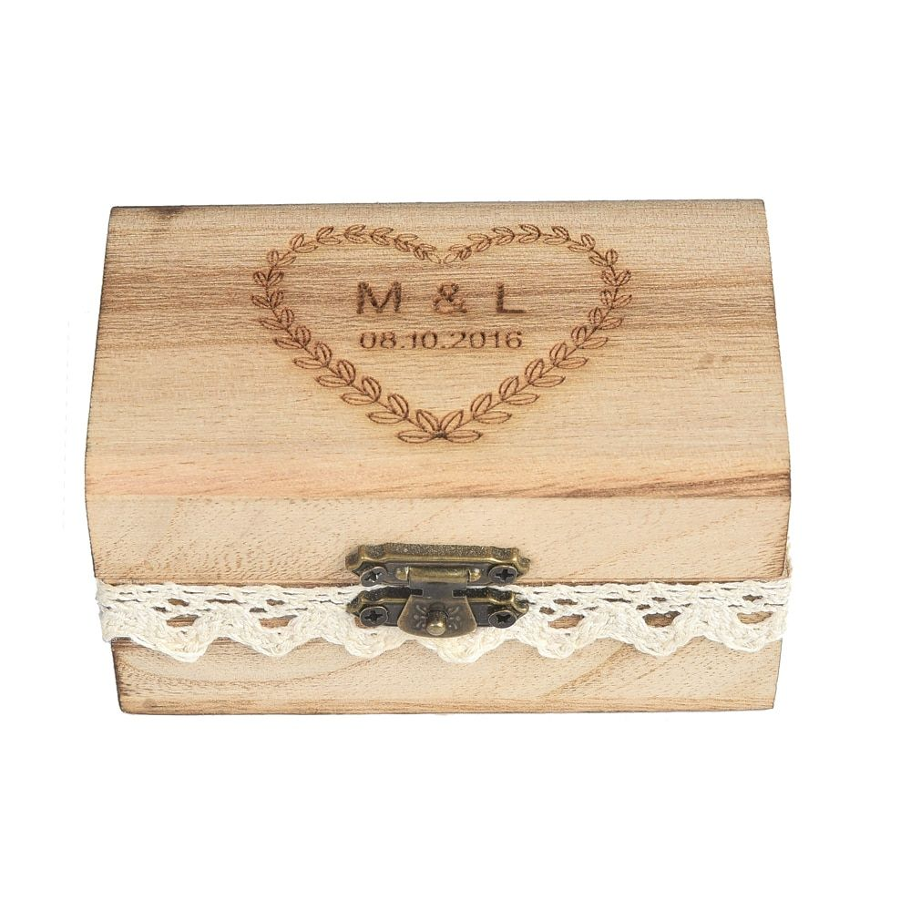 Personalized Engraved Gift Rustic Wedding Ring Bearer Ring Box Wooden Custom Your Names And Date