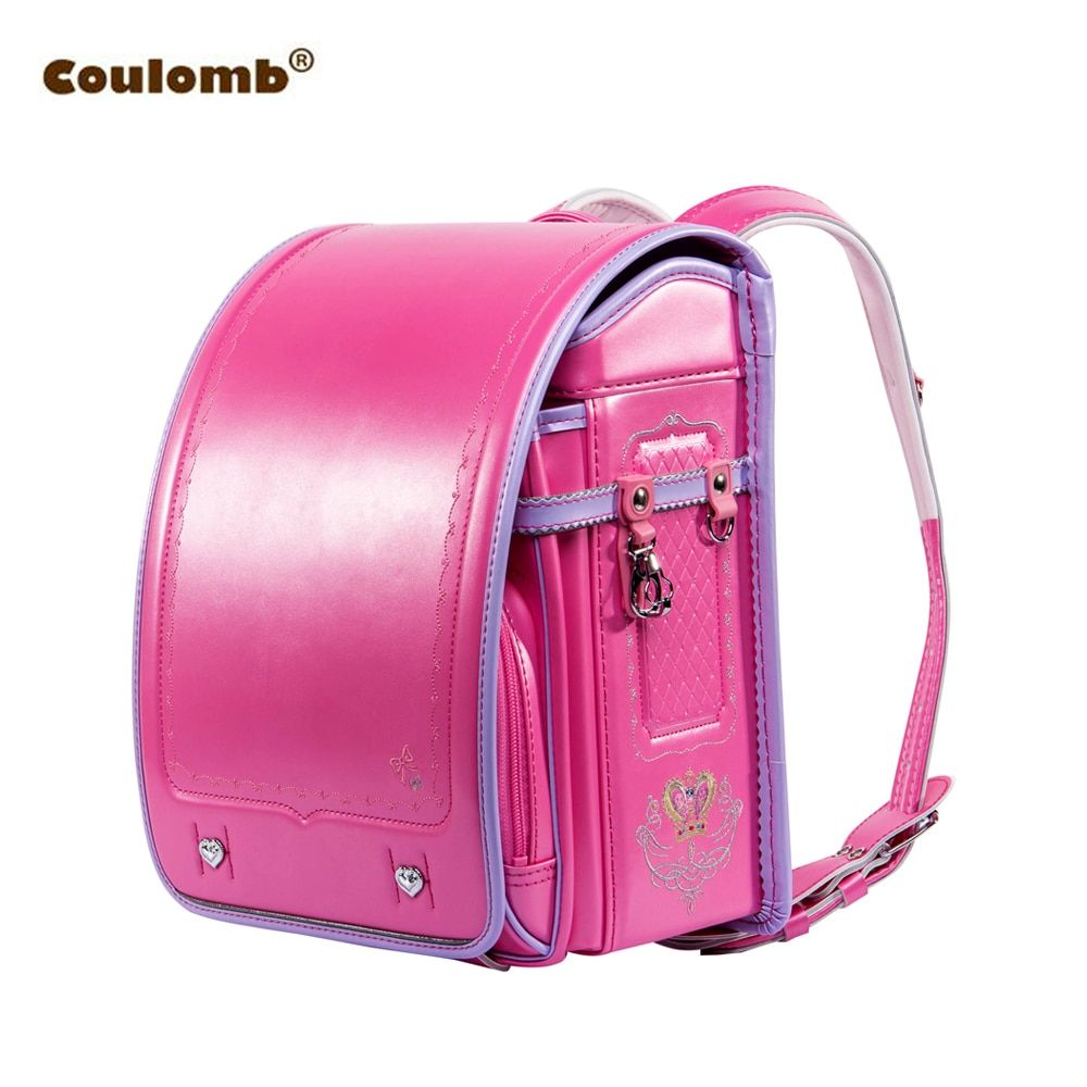 Coulomb Children Backpack For Boy And Girl Japanese School Bag PU Hasp Patchwork Kid Randoseru Student Bookbag Orthopedic 2017