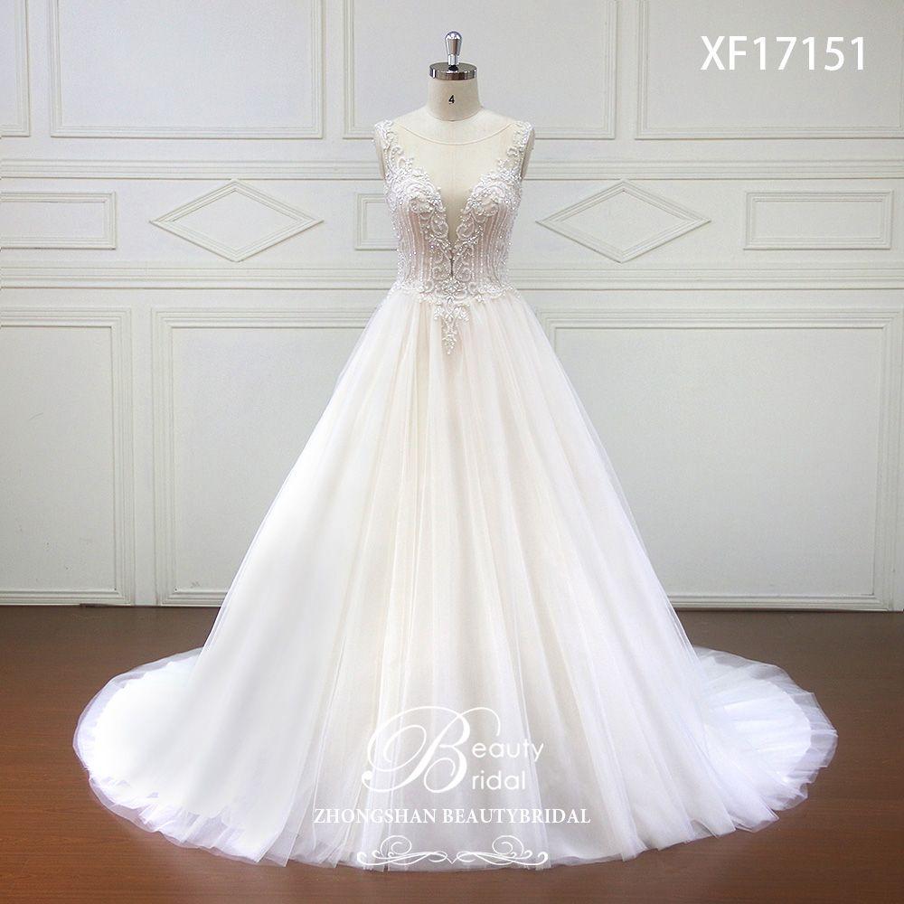 High-end Custom made Deep V Bridal Boho Wedding Dress 2019 Beads Crystal Wedding Dresses Court Train vestidos de noiva XF17151