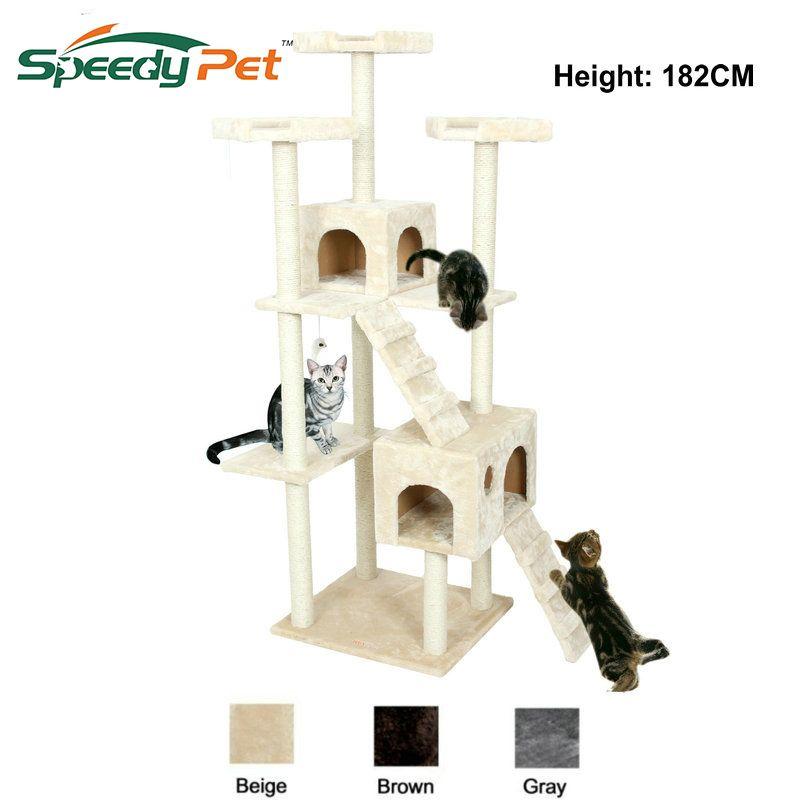 Domestic Lieferung Große Katze Baum Turm Condo Möbel Scratch Post Katze Springen Spielzeug mit Leiter für Kätzchen Haustier Haus Spielen