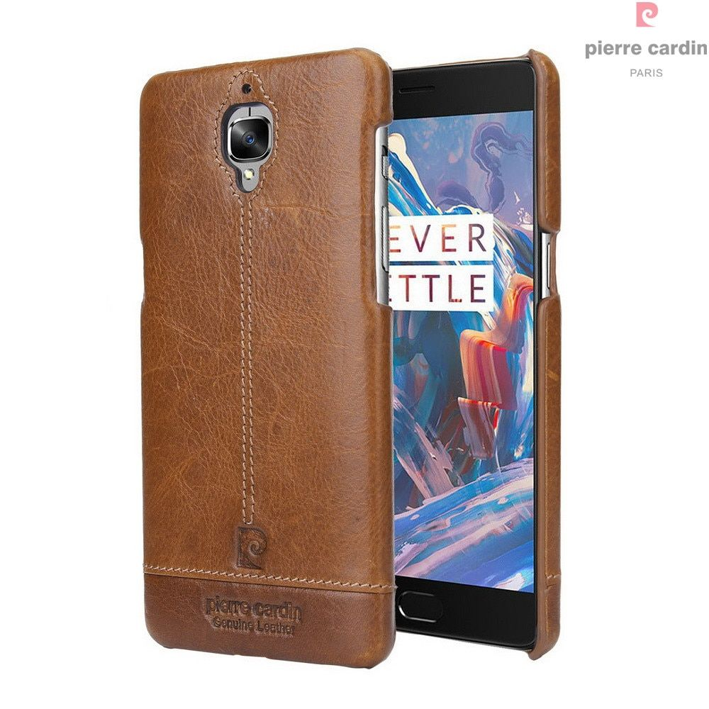 Original Pierre Cardin Case For OnePlus 3T 3 T Three Luxury Phone Case Genuine Leather Hard Slim Back Cover For One Plus 3T 3