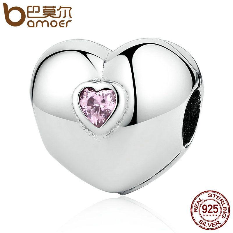 BAMOER Heißer Verkauf 100% 925 Sterling Silber Stetige Herz, rosa CZ Clip Charms fit Armbänder & Halsketten Perlen Zubehör PSC034