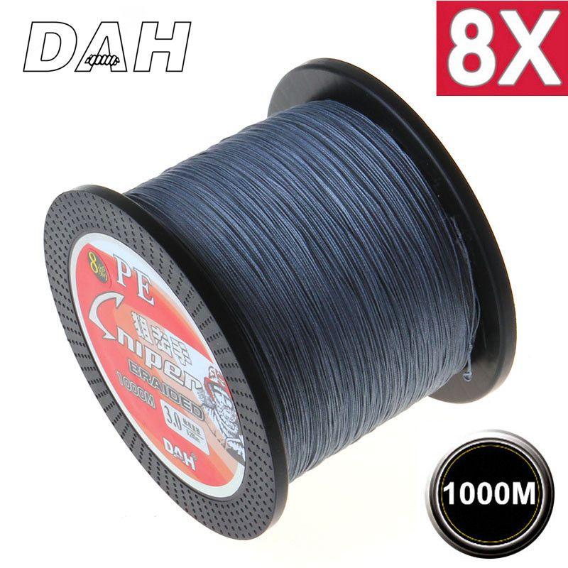 1000 M 8X DAH marque Super forte japon Multifilament 100% PE tressé ligne de pêche 8 fils tressés 10LB à 100LB