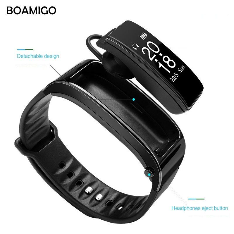 Smart Watches BOAMIGO Brand Bracelet Wristband Talk Band Watches Message Reminder <font><b>Pedometer</b></font> Calorie Bluetooth For IOS Android