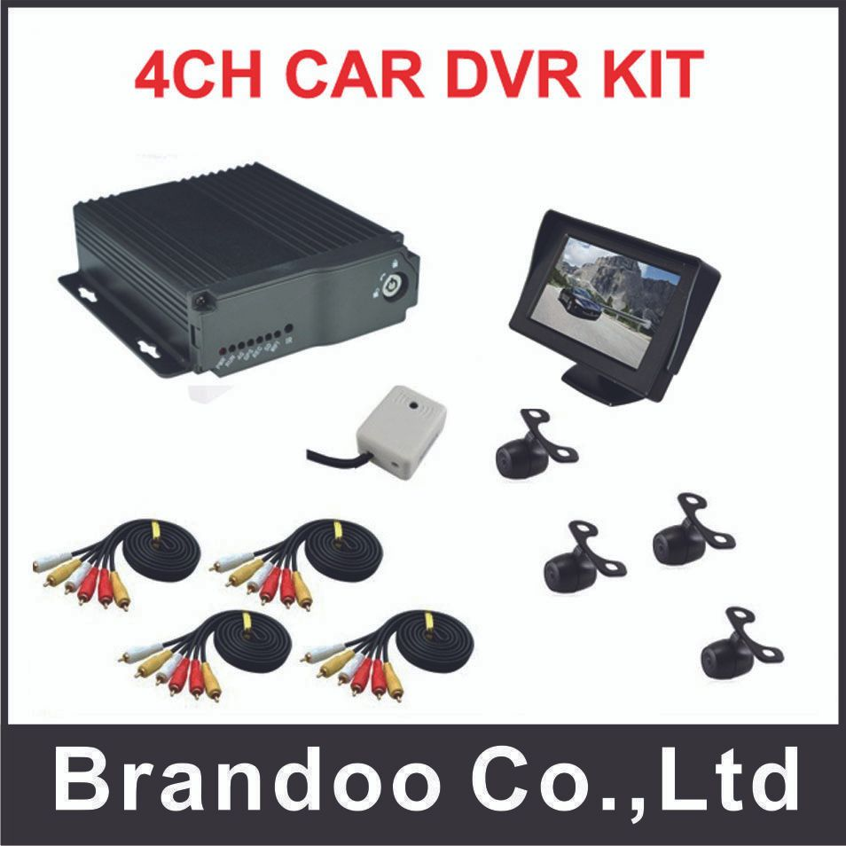 Promotion! 4Channel D1 CAR DVR kit for taxi,bus,turck,shcoolbus used,free shipping to Russia,BD-323HD