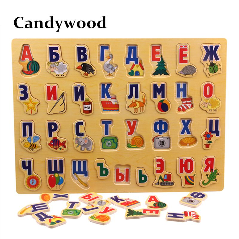 39*29CM Large Puzzle Wooden Toys Russian Alphabet Puzzles Toys for Children Alphabet Grasp <font><b>Board</b></font> Kids Educational Developing Toy