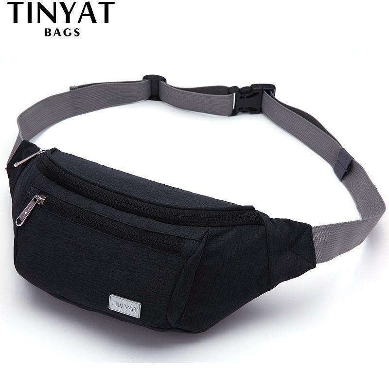 TINYAT Men Waist Bag <font><b>Pack</b></font> 3 zipper pocket Waterproof Travel Phone Belt Bag Pouch for Men Women Casual Canva Fanny <font><b>pack</b></font> Hip <font><b>pack</b></font>