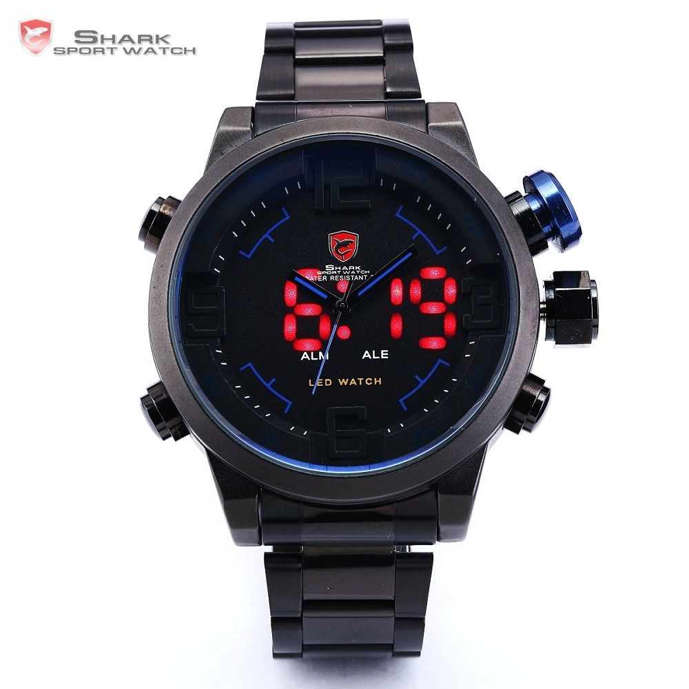 Gulper SHARK Sport Watch Luxury Brand LED Analog Date Quartz Blue Button Steel Strap Men Quartz Watches relogio masculino /SH106