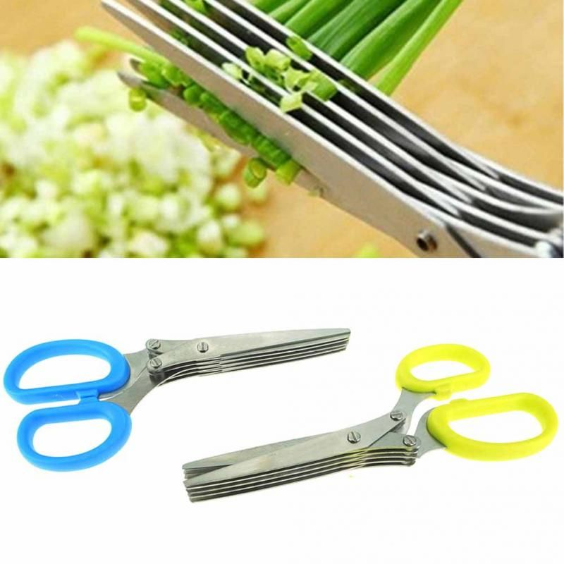 Top quality Steel Kitchen Knives Multi functional Stainless 5 Layers Scissors Sushi Shredded Scallion Cut Herb Spices Scissors
