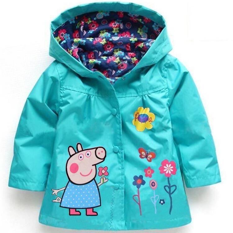 Spring <font><b>Autumn</b></font> Baby Girls Hoodies, Toddler Girls Jackets, Cartoon Kids Outerwear, Waterproof Children's Coat Raincoat Windbreaker
