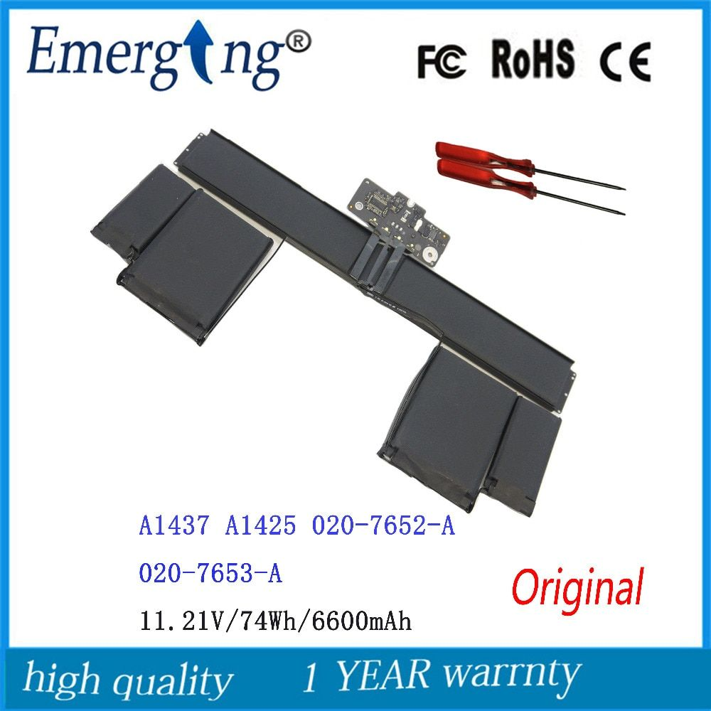 11,21 V 74Wh Neue Original-Laptop-Batterie A1437 für APPLE MacBook Pro13 Retina A1425 (spät 2012) 020-7653-A 6600 mah mit werkzeuge