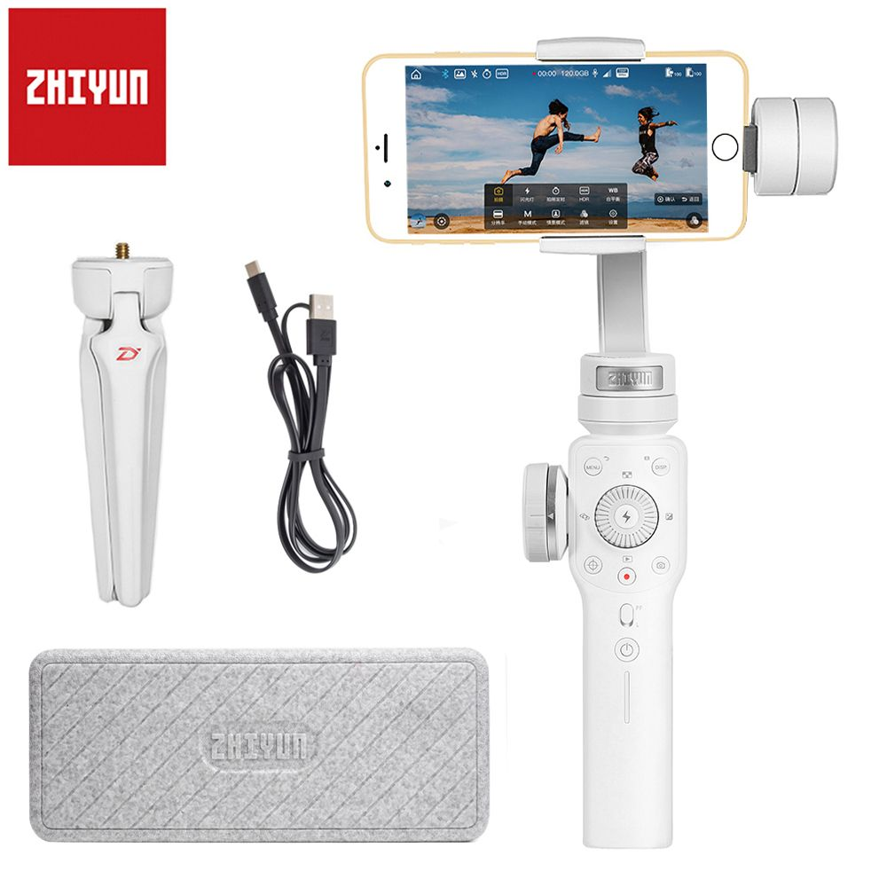 Zhiyun Smooth 4 3-Axis Handheld Gimbal Portable Stabilizer Smartphone for iPhone X 8Plus 8 7 6 Plus S9 S8 S7 6 Vertical Shooting