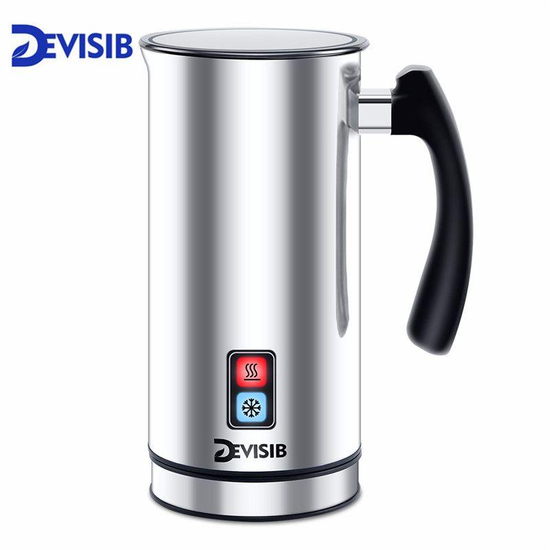 DEVISIB Automatische Milchaufschäumer Edelstahl Milch Dampfer Elektrische Cappuccinator Heißer/Kalten Kaffee CE 1 Jahr Garantie Inklusive