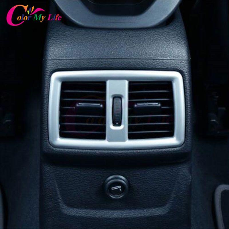 Заднее сиденье вентиляционное отверстие розетки Защитная Крышка отделкой Кондиционер Vent Стикеры для BMW X1 F48 2016 2017 автомобилей Интимные аксе...