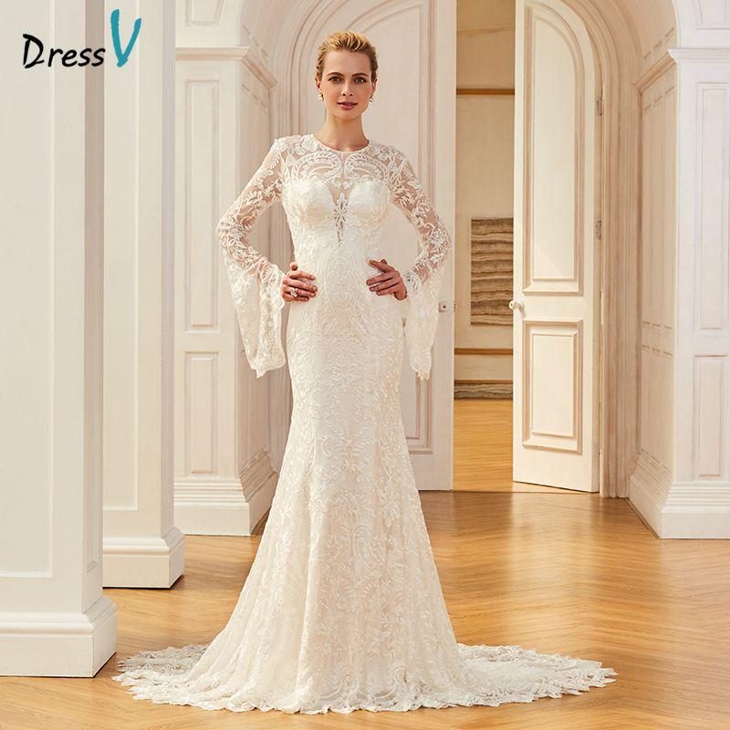 Dressv encaje elegante vestido de novia largo tren de la Corte de manga larga sirena vestidos de novia al aire libre y la Iglesia de la trompeta