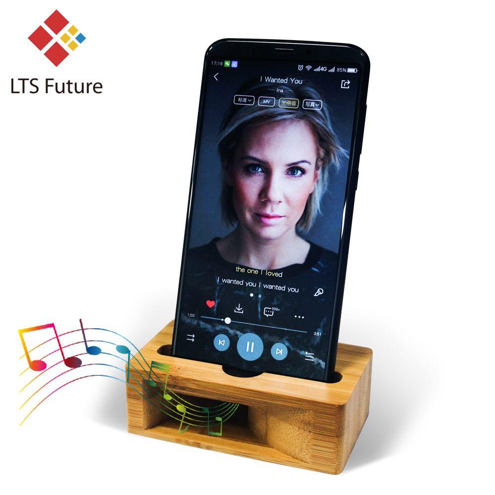 Téléphone portable haut-parleur haut-parleur pour Iphone Samsung Sony Support en bois amplificateur de son Support en bambou socle de bureau en bois Support