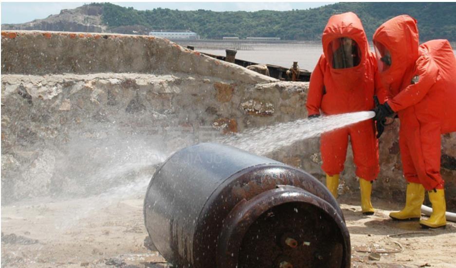 Vollsperrung von schweren alkali chemische schutzanzüge, ammoniak gas chemische warfare anzüge, schädlichen gas rettungs kleidung.