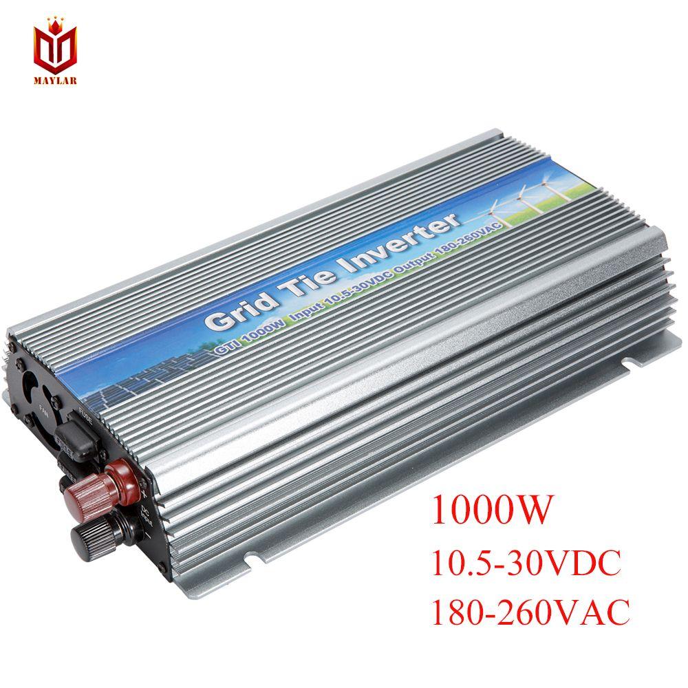 MAYLAR @ 10.5-28VDC,1000W Pure Sine Wave Solar Grid Tie micro inverter180-260VAC, for Vmp18V Panels solar home system