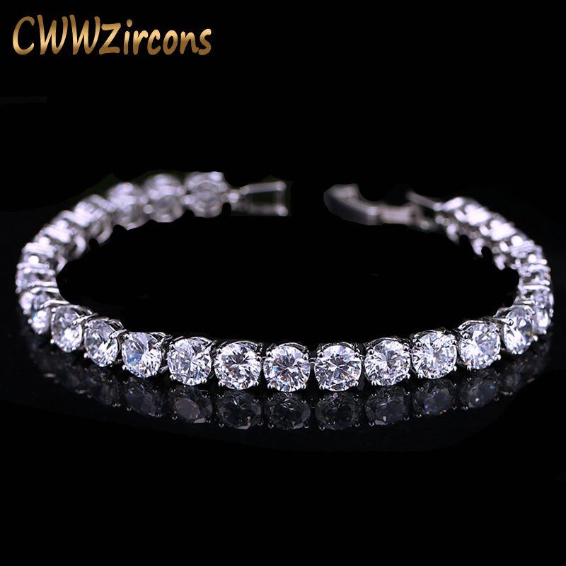 CWWZircons 2018 Dernière Conception Or Blanc Couleur AAA + Rond 0.5 carat Cubique Zircone Tennis Bracelet Bijoux Pour Femme CB058