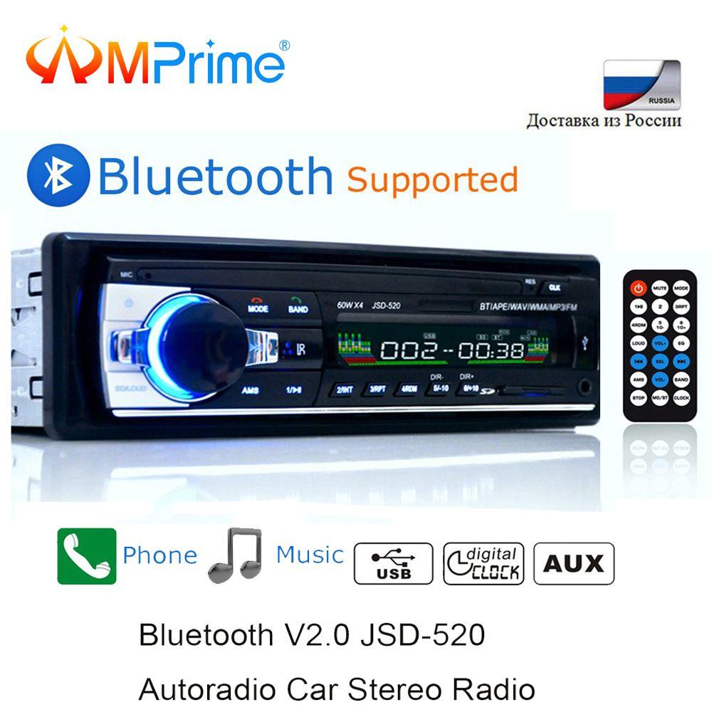 AMPrime Bluetooth Autoradio Autoradio stéréo FM Aux récepteur d'entrée SD USB JSD-520 12 V En-dash 1 din Voiture MP3 lecteur multimédia