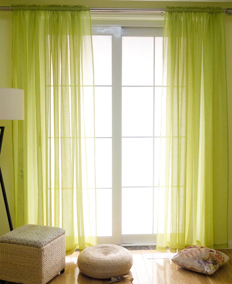 Style américain Imitation lin gaze rideaux solide couleur pincement plissé pure rideau fenêtre tulle salon rideaux S16507