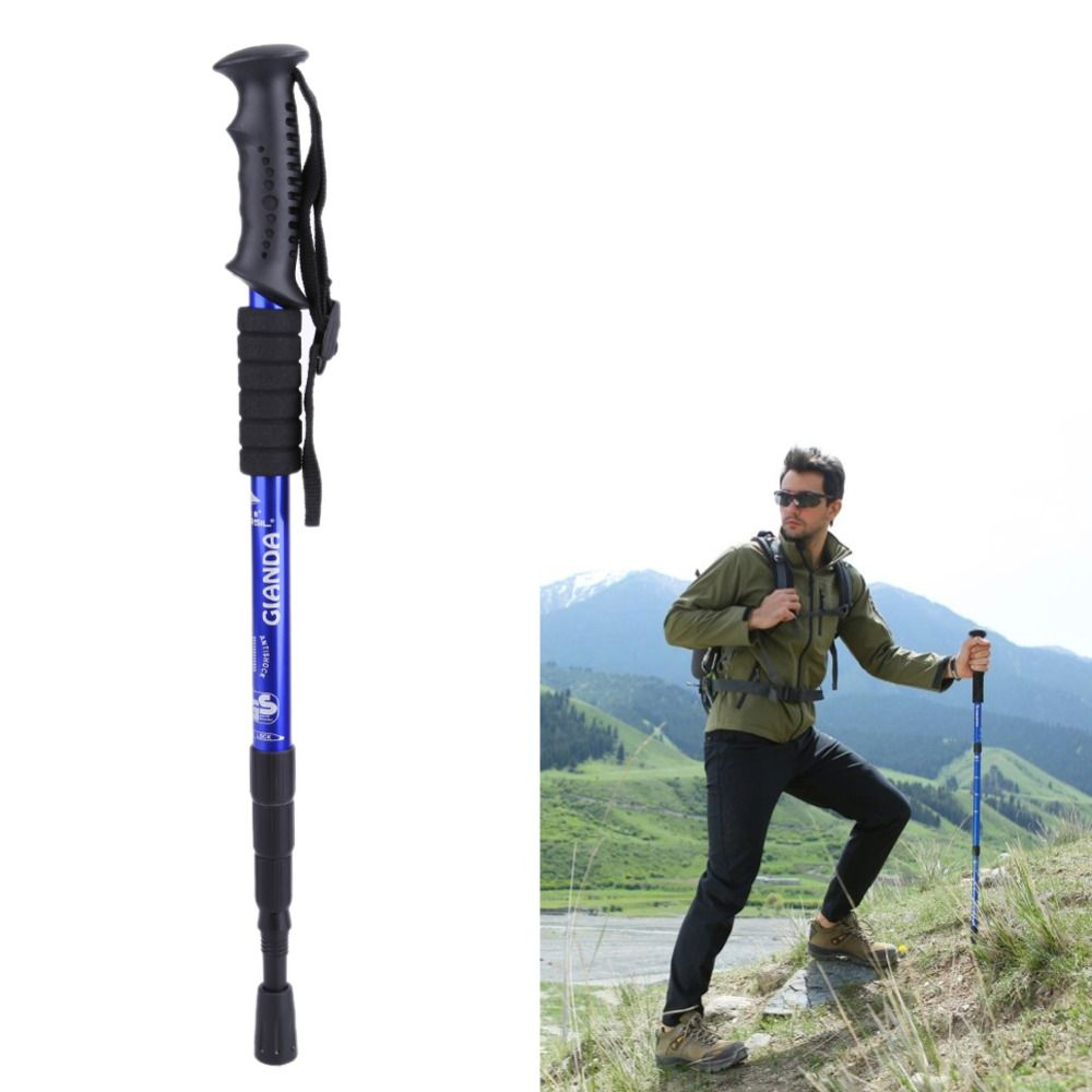 1pcs Adjustable Telescopic Aluminum Alloy Hiking Walking Stick Trekking Pole Anti-shock Anti-skid Ultralight Stick Walking Stick