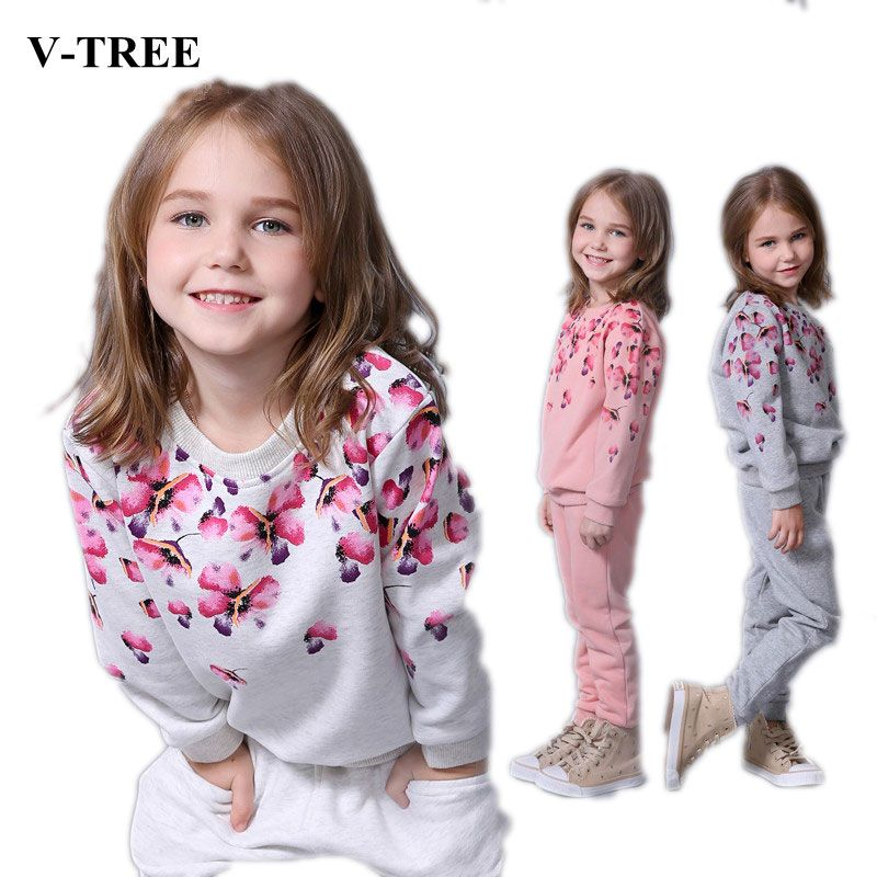 V-TREE Spring autumn girls clothing set floral kids <font><b>suit</b></font> set casual two-piece sport <font><b>suit</b></font> for girl tracksuit children clothing