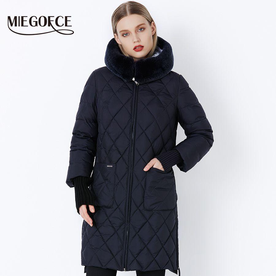 MIEGOFCE 2018 Neue Kollektion Winter Frauen Jacke Mantel Original Pelz Kragen Frauen Parkas Mode Marke Frauen Baumwolle Gefütterte Jacke
