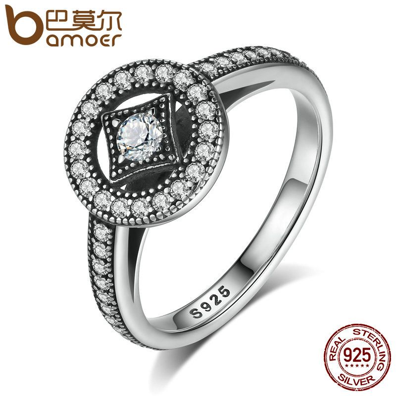 BAMOER Classic 100% 925 Sterling Silver Vintage Allure, Clear CZ Finger Ring Women Luxury Fashion Jewelry S925 PA7199