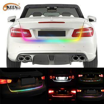 OKEEN 47,6 дюйма RGB красочные течет СИД для автомобиля привело магистральные полосы динамический шоры указатель поворота Хвост Магистральные с...