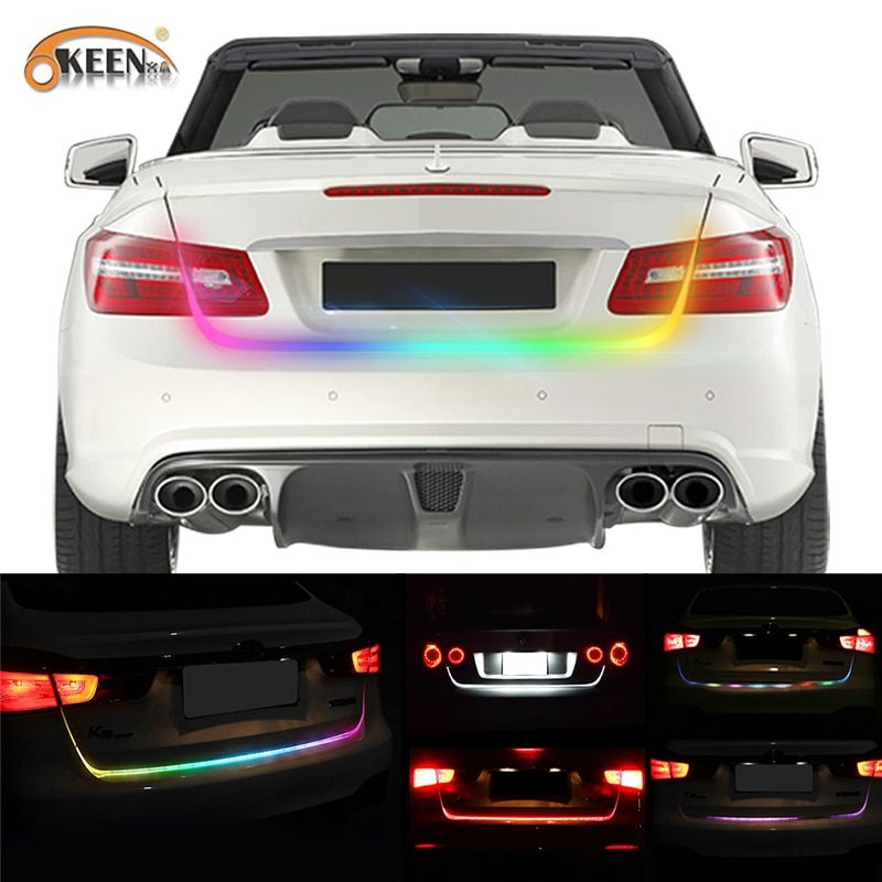 OKEEN 47.6inch RGB colorful flowing LED strip for car trunk dynamic blinkers led turn light Tail Trunk lights LED Warning Light